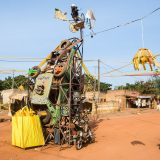 Street sculpture made from recycled materials