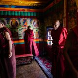 Monks preparing for a festival at Stagmo Gompa (Buddhist Monastery)