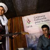 Young musicians from the Joudour Sahara Music School at the Taragalte Festival, M'Hamid El Ghizlane